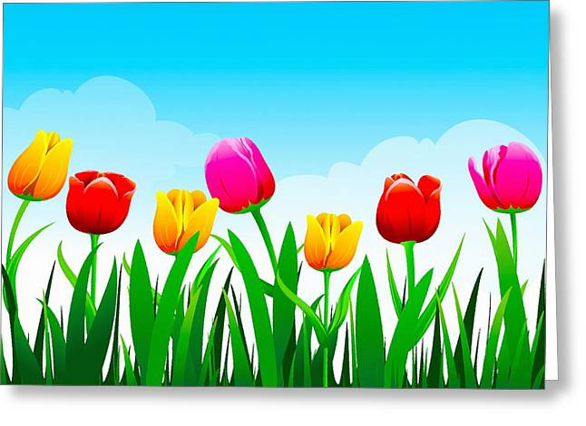 Flower Design Greeting Cards - Tulips in Blooms Greeting Card by Don Kuing