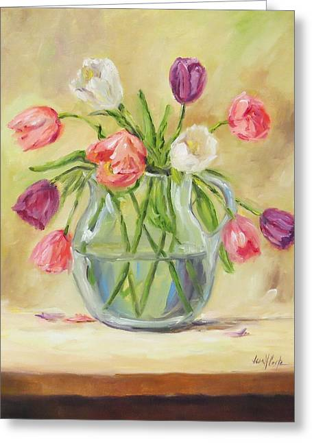 Assorted Paintings Greeting Cards - Tulips in Glass Pitcher Greeting Card by Jean Costa