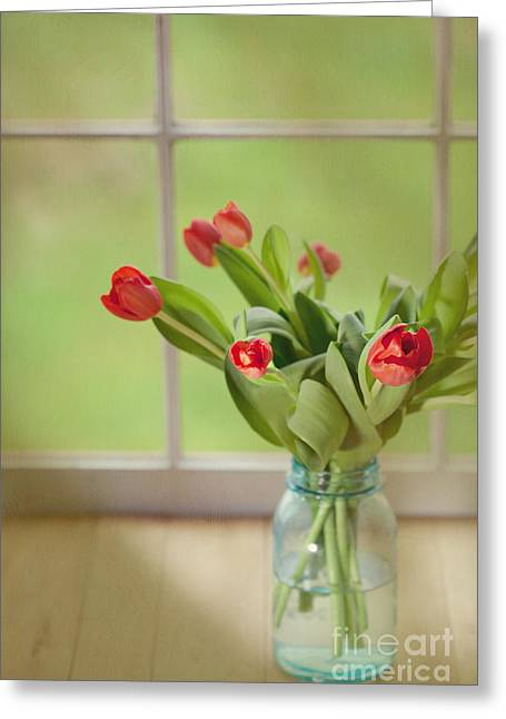 Kaypickens.com Photographs Greeting Cards - Tulips in Mason Jar Greeting Card by Kay Pickens