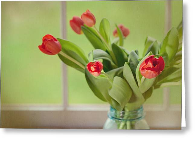 Tulips in Mason Jar Greeting Card by Kay Pickens