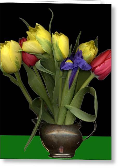 Pewter Jug Greeting Cards - Tulips in pewter vase Greeting Card by Margaret Hockney
