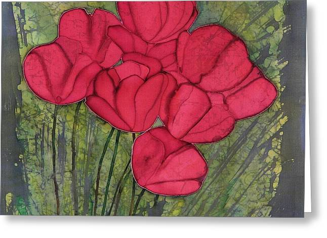 Dye Tapestries - Textiles Greeting Cards - Tulips in Spring Greeting Card by Carolyn Doe