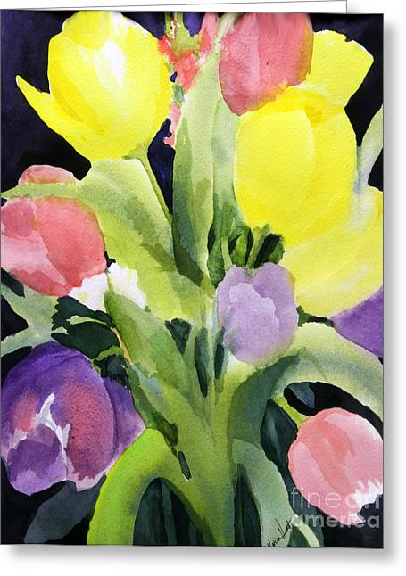 Pink And Lavender Greeting Cards - The Colors of Happy Greeting Card by Maria Hunt