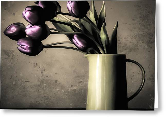 Light Taupe Greeting Cards - Tulips in the Evening Light Greeting Card by Julie Palencia