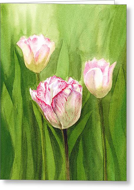 Landscape. Scenic Paintings Greeting Cards - Tulips in the Fog Greeting Card by Irina Sztukowski