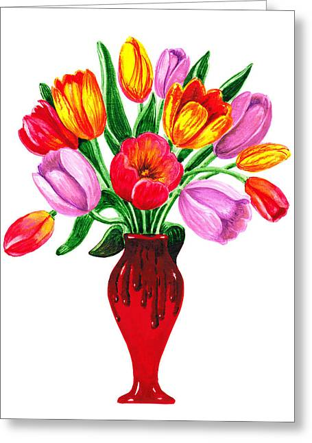 Tulip Blossom Greeting Cards - Tulips In The Vase Greeting Card by Irina Sztukowski
