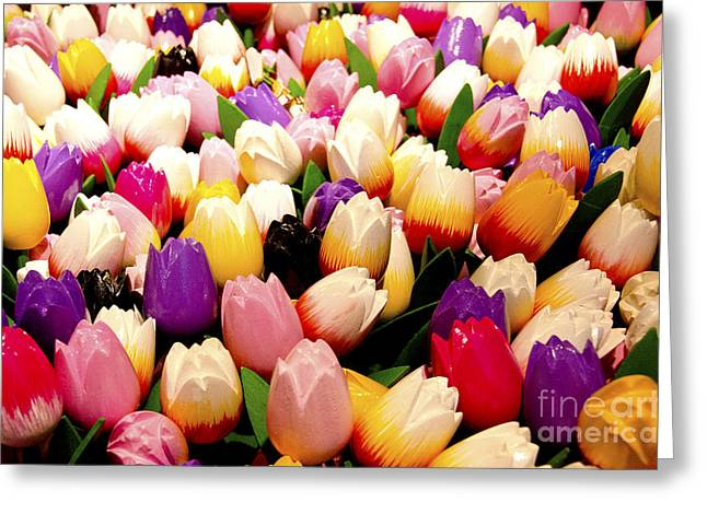 Wooden Sculpture Digital Art Greeting Cards - Tulips in Wood Greeting Card by Pravine Chester