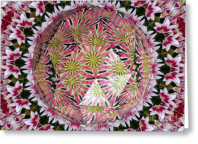 Avant Garde Photograph Greeting Cards - Tulips Kaleidoscope Under Polyhedron Glass Greeting Card by Rose Santuci-Sofranko