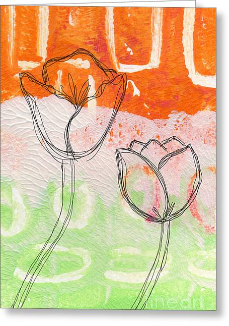 Shapes Mixed Media Greeting Cards - Tulips Greeting Card by Linda Woods