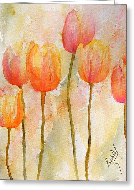 Watercolour Greeting Cards - Tulips Greeting Card by Lucia Del