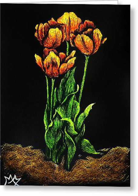 Spring Bulbs Drawings Greeting Cards - Tulips Greeting Card by Monique Morin Matson