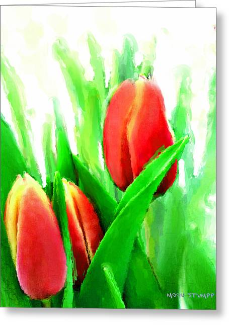 Realism Mixed Media Greeting Cards - Tulips Greeting Card by Moon Stumpp