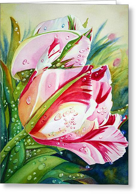 Garden Scene Mixed Media Greeting Cards - Tulips Greeting Card by Nicolai Temporal