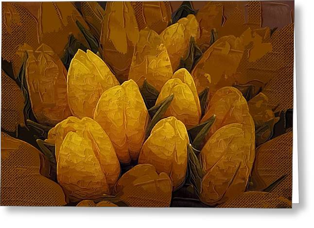 Easter Flowers Greeting Cards - Tulips Oil Painting Flowers Greeting Card by Victor Gladkiy