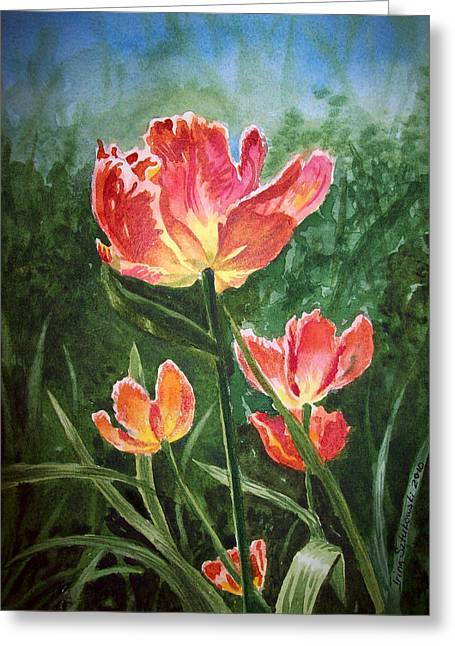 Watercolour Art Greeting Cards - Tulips on Fire Greeting Card by Irina Sztukowski