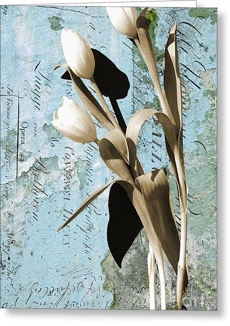 Love Letter Mixed Media Greeting Cards - Tulips on Rustic Blue Script Wall Greeting Card by Anahi DeCanio