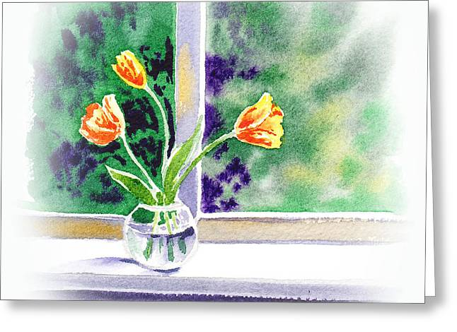 Tulips On The Window Greeting Card by Irina Sztukowski