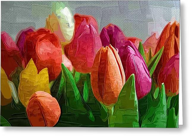 Easter Flowers Greeting Cards - Tulips Paintings Of Flowers Greeting Card by Victor Gladkiy