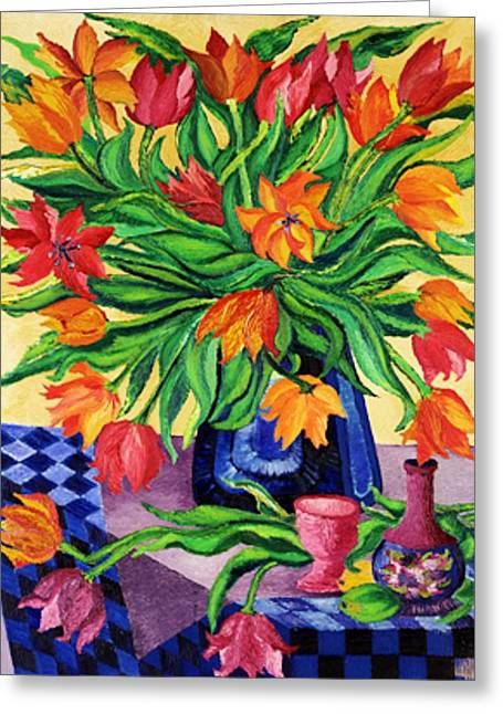 Art Sale Sculptures Greeting Cards - TULIPS   Sculptured in Oil    Art Deco Greeting Card by Gunter  Hortz