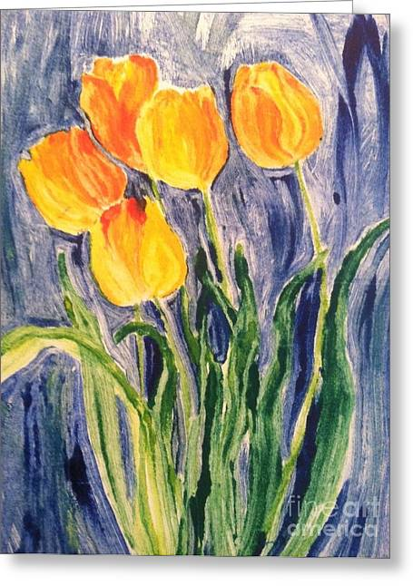 Wild Orchards Paintings Greeting Cards - Tulips Greeting Card by Sherry Harradence