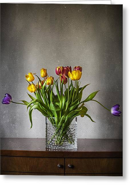 Fresh Green Greeting Cards - Tulips Greeting Card by Svetlana Sewell