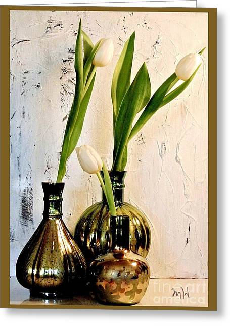 Thin Greeting Cards - Tulips Three in Mercury Greeting Card by Marsha Heiken