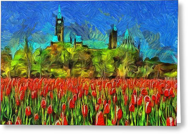 Photo-realism Mixed Media Greeting Cards - Tulips Van Gogh on Parliament Hill Greeting Card by Mario Carini