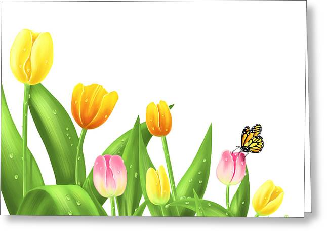 Digital Flower Greeting Cards - Tulips Greeting Card by Veronica Minozzi