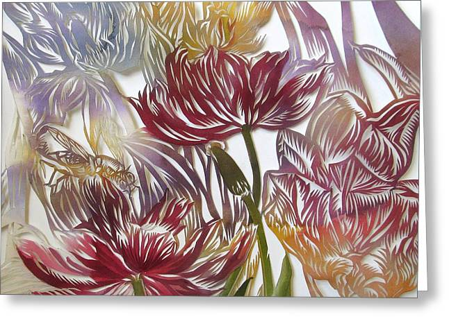 Cut-outs Mixed Media Greeting Cards - Tulips Watercolor Cut Out Greeting Card by Alfred Ng