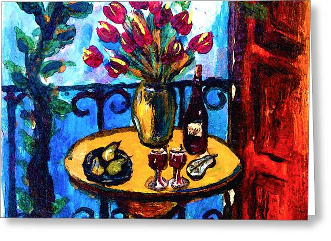 Red Wine Bottle Greeting Cards - Tulips Wine and Pears Greeting Card by Karon Melillo DeVega
