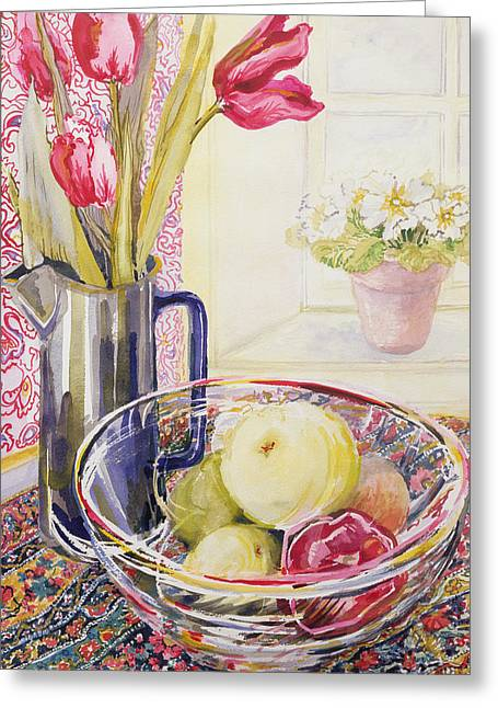 Water Jug Greeting Cards - Tulips with Fruit in a Glass Bowl  Greeting Card by Joan Thewsey