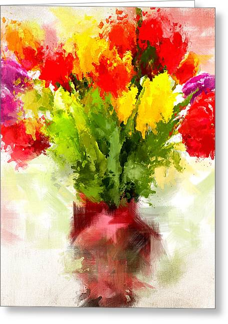 Spring Bulbs Greeting Cards - Tulips With Love Greeting Card by Lourry Legarde