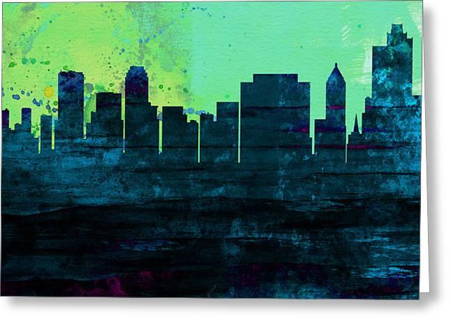 Tulsa City Skyline Greeting Card by Naxart Studio