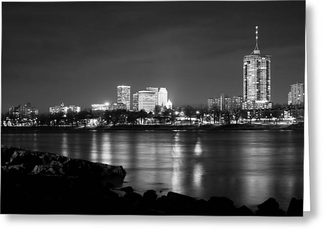 Oklahoma University Greeting Cards - Tulsa in Black and White - University Tower View Greeting Card by Gregory Ballos