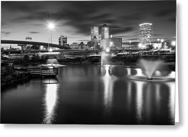 Most Popular Photographs Greeting Cards - Tulsa Lights - Centennial Park View Black and White Greeting Card by Gregory Ballos