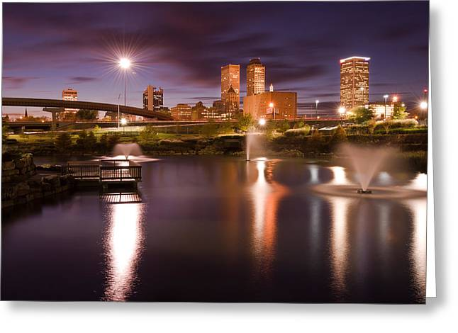 Most Popular Photographs Greeting Cards - Tulsa Lights - Centennial Park View Greeting Card by Gregory Ballos