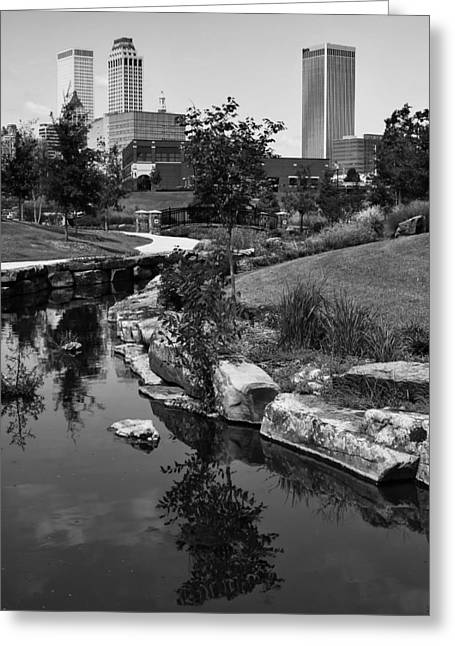 Reflections Of Trees In River Greeting Cards - Tulsa Oklahoma Skyline and River Black and White Greeting Card by Gregory Ballos