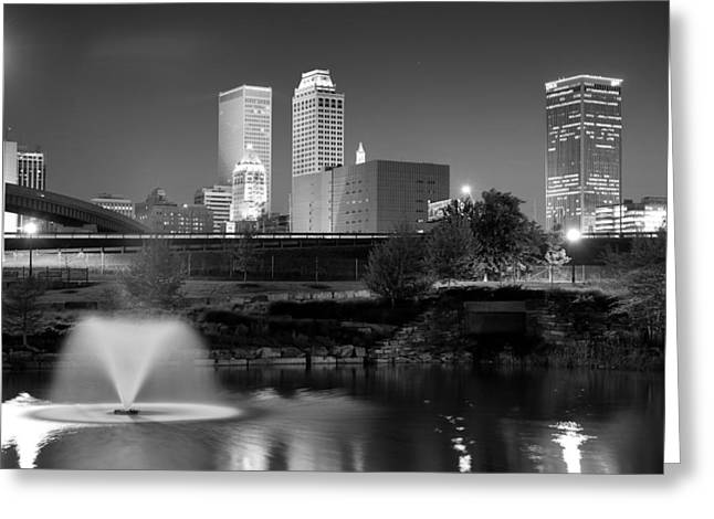 Tulsa Oklahoma Skyline Black And White Greeting Card by Gregory Ballos
