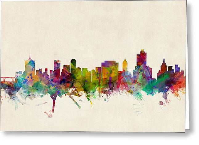 Cityscape Greeting Cards - Tulsa Oklahoma Skyline Greeting Card by Michael Tompsett