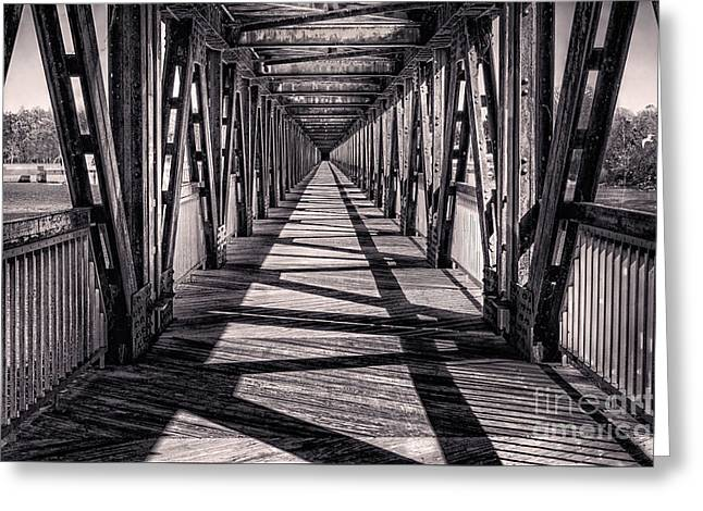 Tamyra Ayles Greeting Cards - Tulsa Pedestrian Bridge in Black and White Greeting Card by Tamyra Ayles