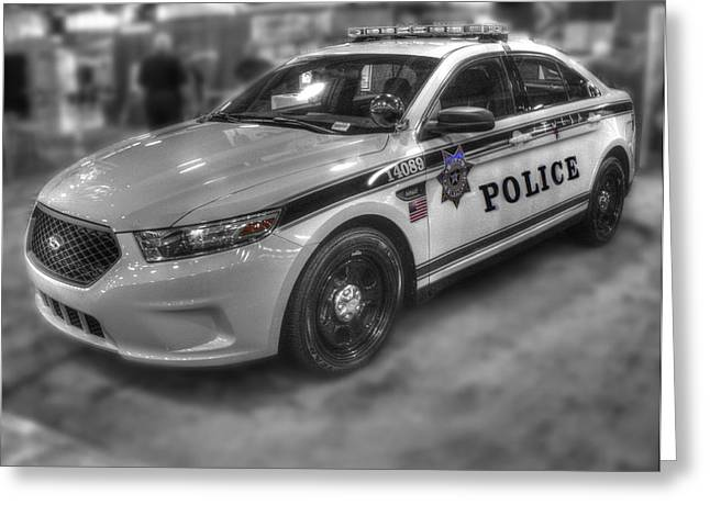Old Police Cruiser Greeting Cards - Tulsa Police at State Fair p1 Greeting Card by John Straton