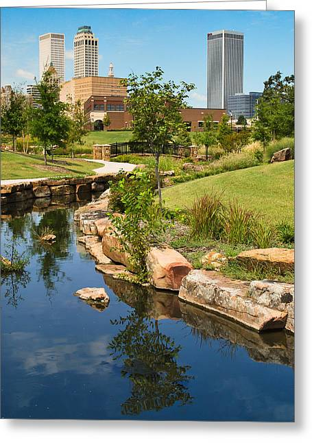 Reflections Of Trees In River Greeting Cards - Tulsa Skyline and River  Greeting Card by Gregory Ballos
