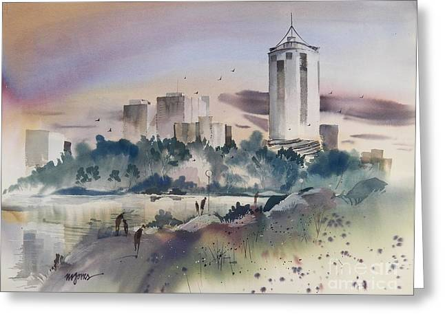 Riverpark Greeting Cards - Tulsa Skyline Greeting Card by Micheal Jones