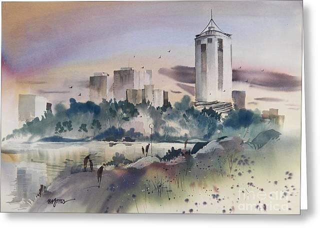 Tulsa Skyline Greeting Card by Micheal Jones