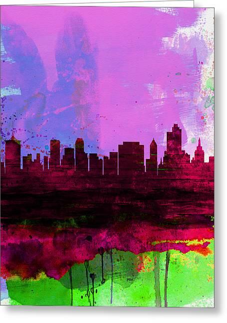 Oklahoma Landscape Greeting Cards - Tulsa Watercolor Skyline 2 Greeting Card by Naxart Studio