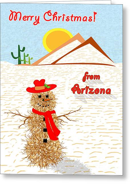 Humorous Greeting Cards Greeting Cards - Tumbleweed Snowman Christmas Card Greeting Card by Methune Hively