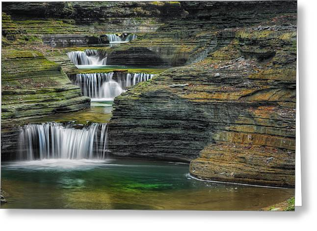 Ethereal Waterfalls Greeting Cards - Tumblin Down Greeting Card by Bill  Wakeley