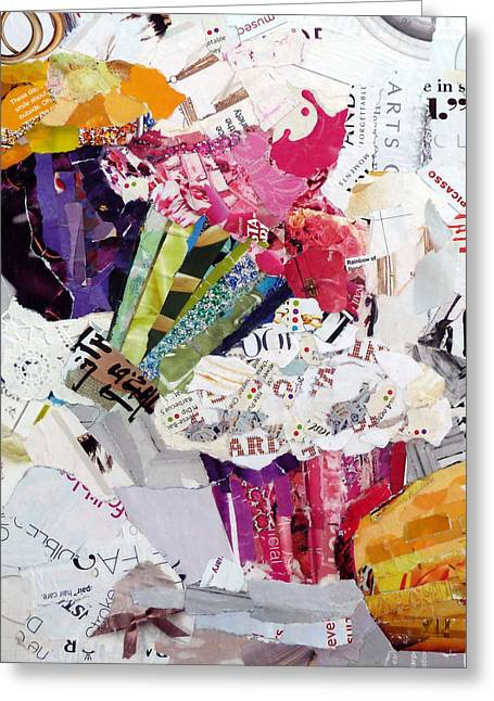 Torn Paintings Greeting Cards - Tumbling Cupcakes Greeting Card by Suzy Pal Powell