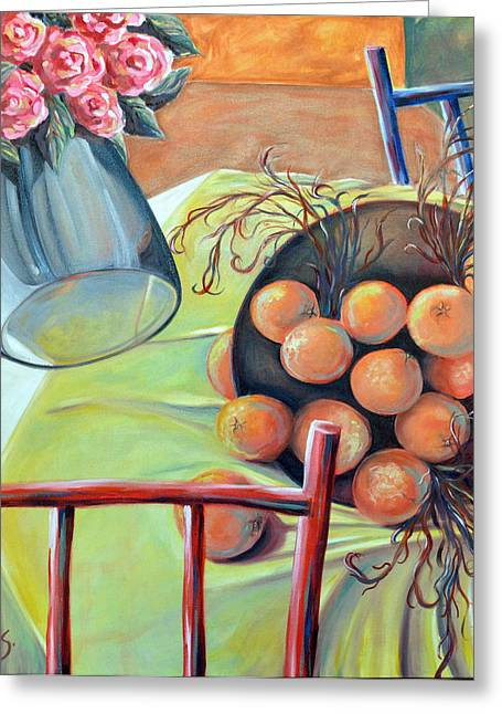 Interior Still Life Paintings Greeting Cards - Tumbling Still Life Greeting Card by Andrea Rosenfeld