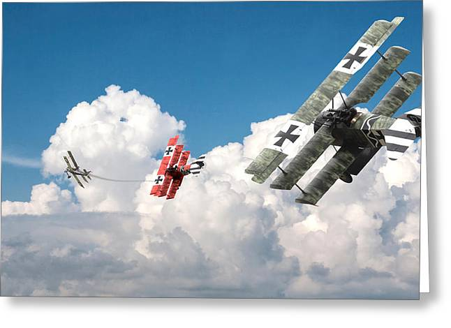 Fokker Dr-1 Greeting Cards - Tumult in the clouds Greeting Card by Pat Speirs